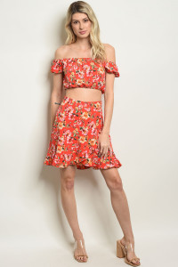 S15-4-1-SET29398 RED FLORAL TOP & SKIRT SET 2-2-2