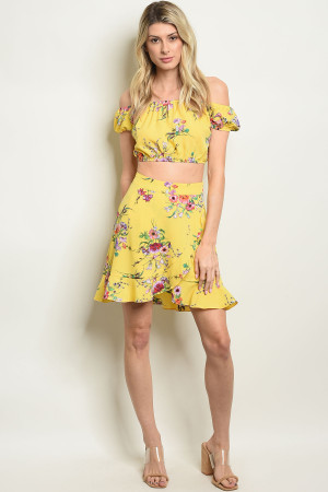 S23-8-4-S3561 YELLOW FLORAL SKIRT 2-2-2