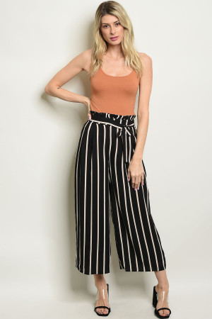 S8-14-1-P3286 BLACK IVORY STRIPES PANTS 1-2-2-1