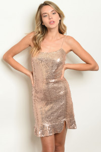 C73-A-1-D18159 ROSE GOLD W/ SEQUINS DRESS 2-2-2  ***WARNING: California Proposition 65***
