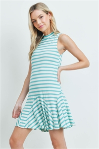 C92-A-2-D6860 IVORY MINT STRIPES DRESS 3-2-1