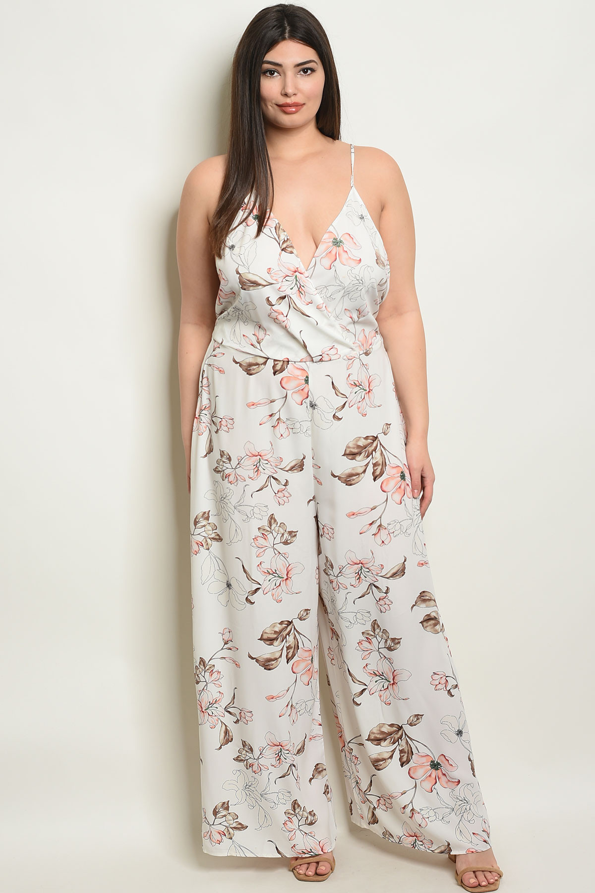 the sale of shoes search for genuine famous designer brand Y-B-J6482X IVORY FLORAL PLUS SIZE JUMPSUIT 3-3