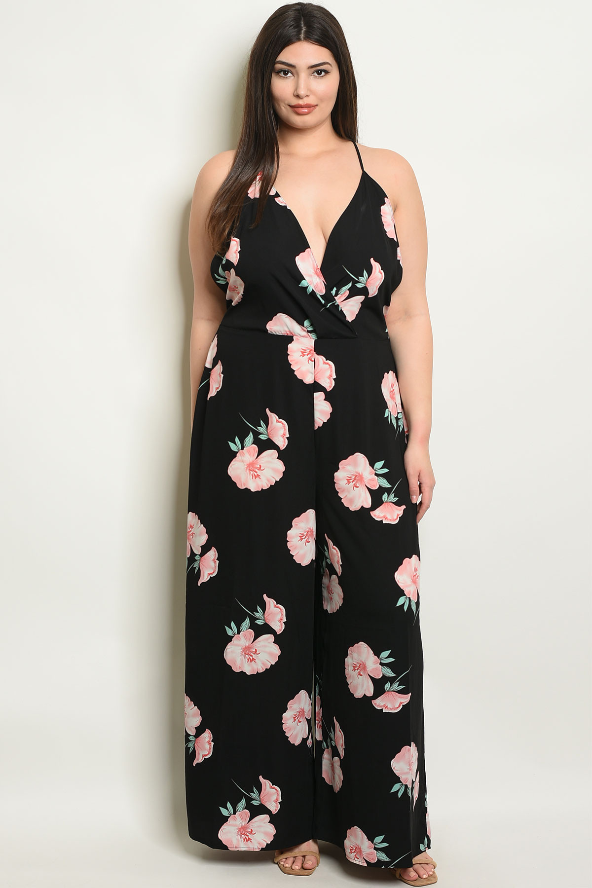 novel style complete in specifications reputation first C40-A-2-J6482X BLACK FLORAL PLUS SIZE JUMPSUIT 2-3