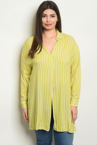 C47-A-2-T13483X LIME WHITE STRIPES PLUS SIZE TOP 2-3