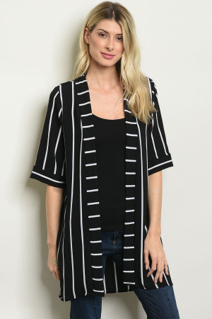 C93-A-1-C6036 BLACK WHITE STRIPES CARDIGAN 1-3-3