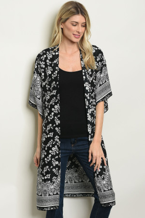 C92-A-3-C60432 BLACK WHITE FLORAL CARDIGAN 2-2-2
