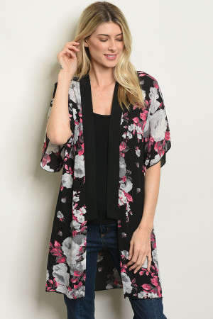 C96-A-4-C60393 BLACK WITH FLOWER PRINT CARDIGAN 2-2-2