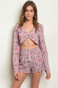 S10-8-1-SET0653 LILAC FLORAL TOP & SHORTS SET 3-2-1