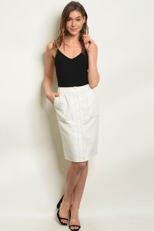 S10-9-3-S1571 OFF WHITE LINEN BLEND SKIRT 3-2-1