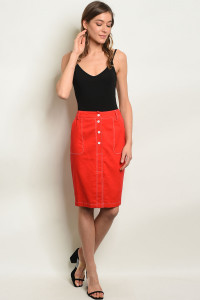 S10-9-3-S1571 RED LINEN BLEND  SKIRT 3-2-1