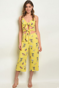 S21-1-2-SET1639 YELLOW FLORAL TOP & PANTS SET 3-2-1