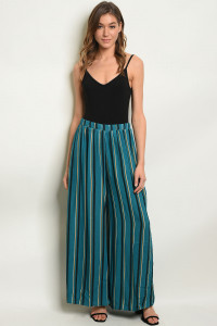 S17-7-3-1P70010 TEAL YELLOW STRIPES PANTS 1-1-1
