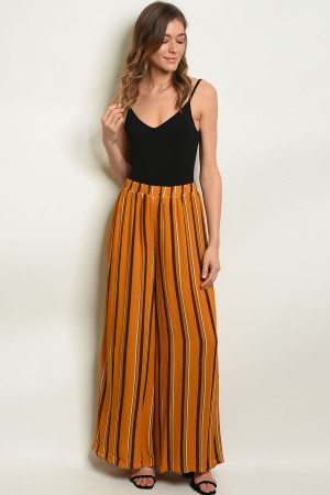 S15-4-3-1P70010 MUSTARD BLACK STRIPES PANTS 2-2-2