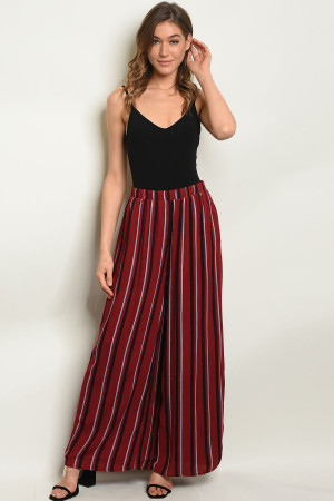 S15-4-3-1P70010 BURGUNDY BLACK STRIPES PANTS 2-2-2