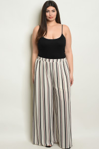 S22-3-3-P70010X IVORY BLACK STRIPES PLUS SIZE PANTS 2-2-2