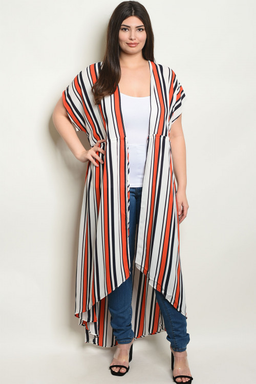 S21-11-4-D11081X IVORY ORANGE STRIPES PLUS SIZE KIMONO 2-2-2