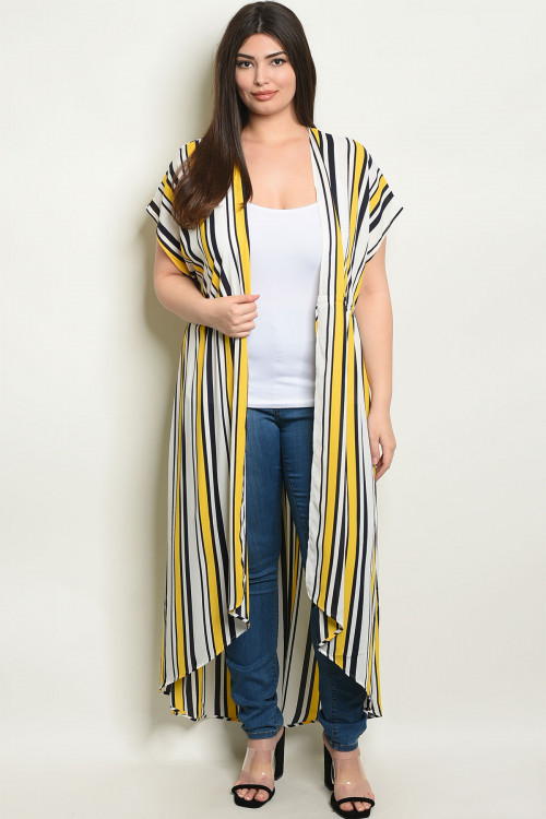 S8-6-3-D11081X IVORY YELLOW STRIPES PLUS SIZE KIMONO 2-2-2