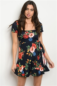 S17-1-3-D1512D NAVY RED FLORAL DRESS 1-1-1