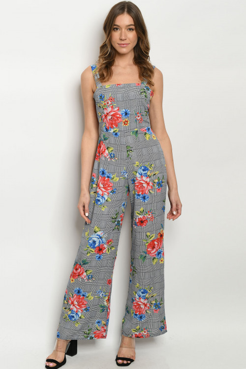 C15-A-1-J170456 NAVY CHECKERED FLORAL JUMPSUIT 3-1