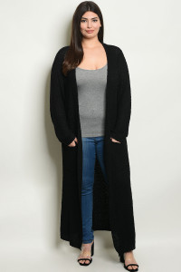 S4-7-3-C214X BLACK PLUS SIZE CARDIGAN 2-2