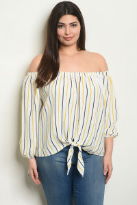 S15-2-4-T23961 IVORY MUSTARD STRIPES PLUS SIZE TOP 2-2-2