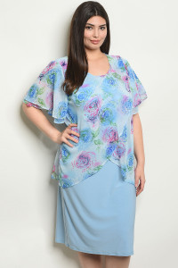 C85-A-7-D2708X BLUE WITH FLOWER PRINT PLUS SIZE DRESS 2-2-2