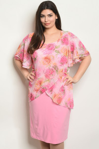 C83-A-4-D2708X PINK WITH FLOWER PRINT PLUS SIZE DRESS 2-2-2