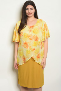 C79-A-3-D2708X YELLOW WITH FLOWER PRINT PLUS SIZE DRESS 2-2-2