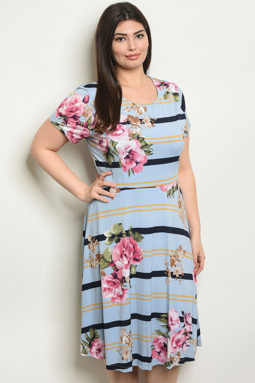 C68-A-1-D2715X BLUE FLORAL PLUS SIZE DRESS 2-3-3