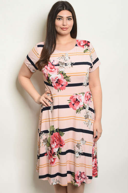 C77-A-5-D2715X BLUSH FLORAL PLUS SIZE DRESS 2-2-2