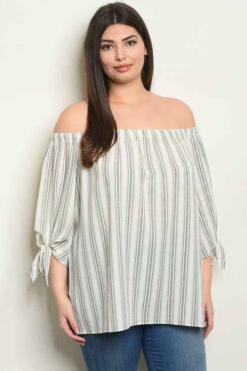 S4-7-3-T24606X IVORY OLIVE STRIPES PLUS SIZE TOP 2-2-2