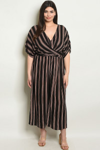 S13-6-5-D18070X BLACK BRICK STRIPES PLUS SIZE DRESS 2-2-2