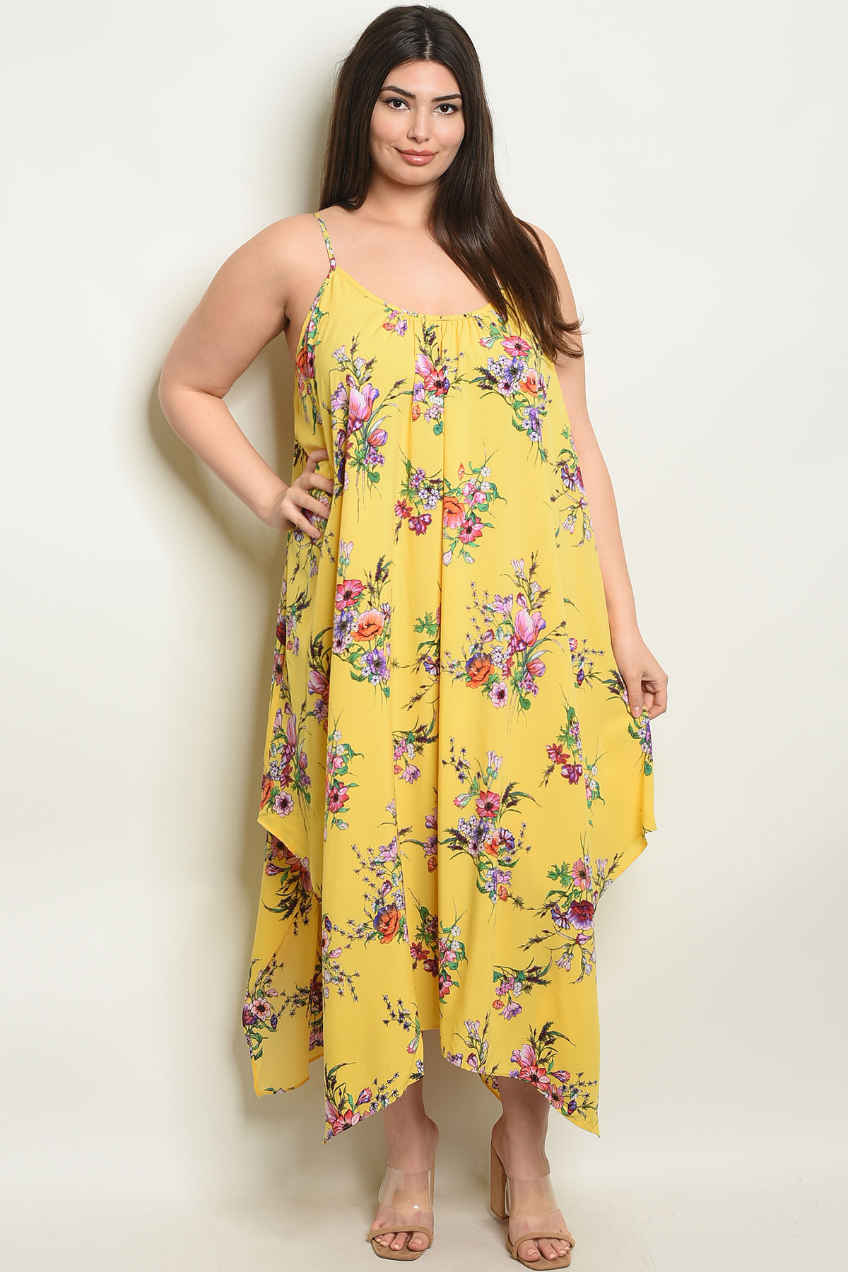 S4-7-4-D116668X YELLOW FLORAL PLUS SIZE DRESS 2-2-2