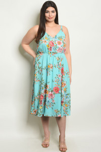 S8-8-3-D16200X MINT FLORAL PLUS SIZE DRESS 2-2-2