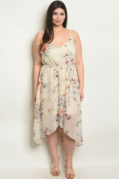 S8-5-2-D17327X CREAM FLORAL PLUS SIZE DRESS 2-2-2