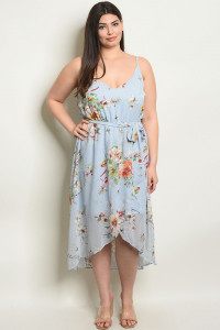 S22-1-4-D17327X BLUE FLORAL PLUS SIZE DRESS 2-2-2