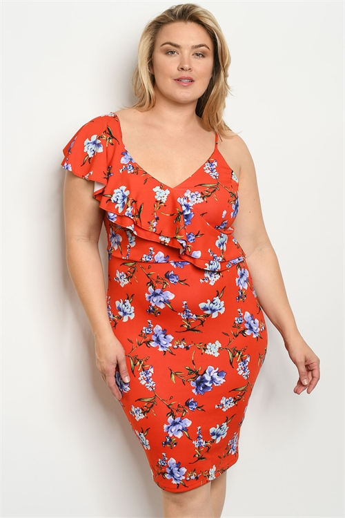 C62-A-3-D16949X ORANGE FLORAL PLUS SIZE DRESS 2-2-2