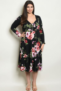 C66-A-6-D16954X BLACK FLORAL PLUS SIZE DRESS 2-2-2