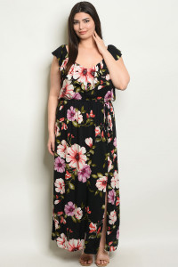 C73-A-4-D17363X BLACK FLORAL PLUS SIZE DRESS 2-2-2