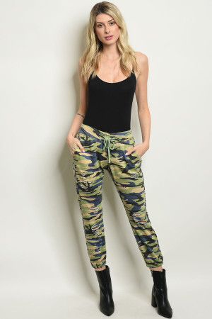 S11-1-2-P5060 GREEN CAMOUFLAGE PANTS 2-2-2