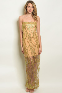 S11-2-4-D4305 TAUPE GOLD WITH SEQUINS DRESS 2-2-2