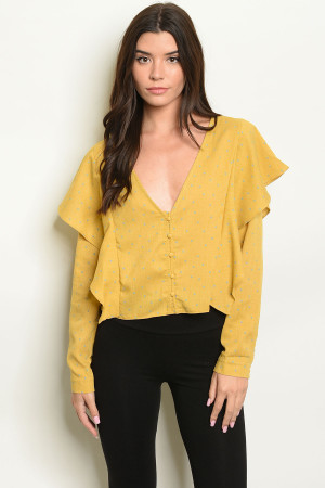 S20-12-4-T10276 MUSTARD WITH DOTS TOP 3-2-1