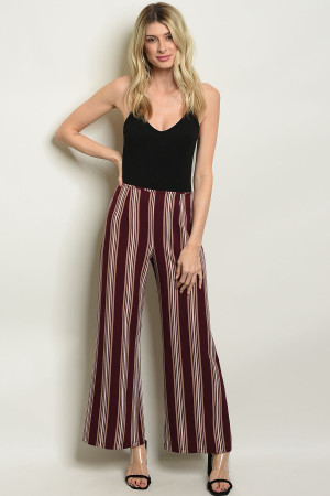 C46-A-7-P3616 WINE STRIPES PANTS 2-2-2