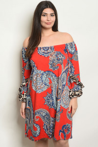 C38-A-1-D4014X RED PAISLEY PRINT PLUS SIZE DRESS 2-3-3