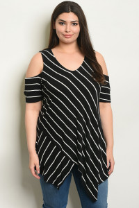 S19-7-3-T65464X BLACK STRIPES PLUS SIZE TOP 2-2-2