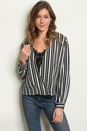 S105-6-2-T5510 BLACK STRIPES TOP 2-3-2-1