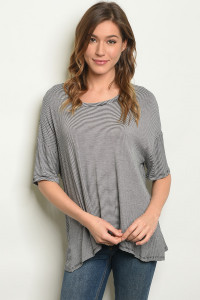S17-2-2-T7363 BLACK STRIPES TOP 1-1-1