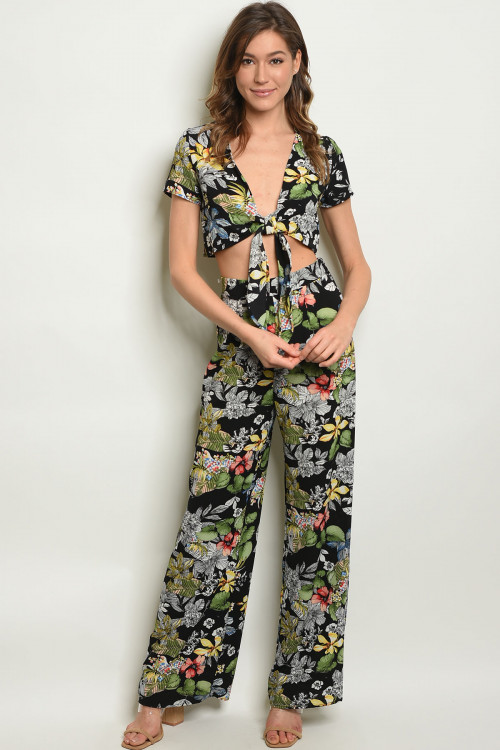 C14-A-2-SET170774 BLACK FLORAL CROP TOP & PANTS SET 2-2-2