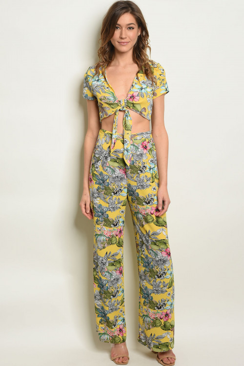 C12-A-4-SET170774 YELLOW FLORAL CROP TOP & PANTS SET 2-2-2