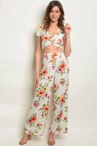 C28-A-3-SET170701 IVORY FLORAL CROP TOP & PANTS SET 2-2-2